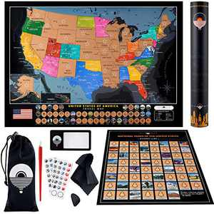 Large Scratch Off Map of United States + National Parks Scratch off Poster – Detailed Scratch off USA Map with 50 Landmarks, Scratchable Flags & Full US Scratch off Map Kit – Deluxe US Travel Map Gift