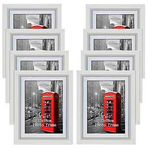 PETAFLOP 5x7 Picture Frame Set Hold 5 x 7 inch White Wall Photo Frames, Set of 8 Pieces