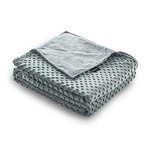 ZonLi 48''x72'' Grey/Grey Minky Dot Duvet Cover, Removable Duvet Cover for Weighted Blanket
