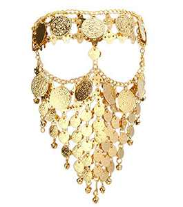 Astage Lady Cosplay Belly Dance Jewelry Coin Veil Halloween Accessories Gold Color