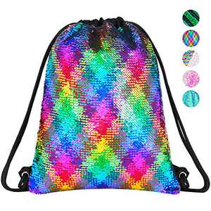 Rainbow Sequin Drawstring Backpack Gym Dance Bags Mermaid Magic Reversible Glitter Bag Unicorn Gift for Girls Daughter Boy Flip Sequin Bag Birthday Gift for Kids Women