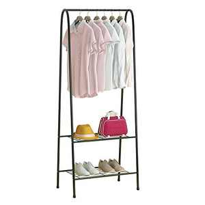 Clothing Garment Rack, Heavy Duty Clothes Rack Portable with 2-Tier Shelves, Double Rod Metal Coat Rack Freestanding with Bottom Shelves for Shoes Rack Organizer - Black