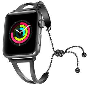 fastgo Bracelet Compatible for Apple Watch Band 38mm 42mm, 2018 Dressy Fancy Jewelry Bangle Cuff for Iwatch Bands Series 4 3 2 1 Women Girls Adjustable Stainless Steel Pendant (Black-42mm 44mm)
