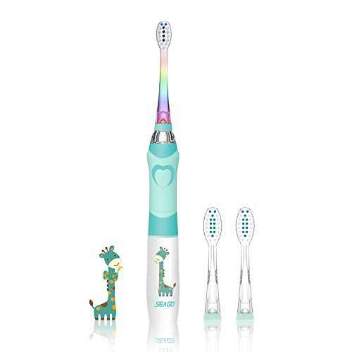 Kids Electric Toothbrush Sonic Toothbrush, Soft Battery Powered Tooth Brush with Smart Timer,Waterproof Replaceable Deep Clean for Kids(Age of 3+),Travel Toothbrush by SEAGO (977Green)