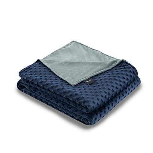 ZonLi 48''x72'' Grey/Navy Minky Dot Duvet Cover, Removable Duvet Cover for Weighted Blanket