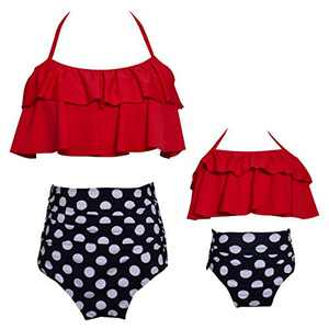 Baby Girls Bikini Set Swimsuit Two Pieces Family Matching Mother Girl High Waisted Swimwear(5-6T) Red-Black