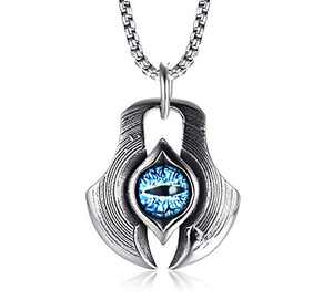 MPRAINBOW Men's Stainless Steel Dragon Necklace Greek Blue Dragon Evil Eye Axe Casting Dog Tag Pendant Amulet Necklace
