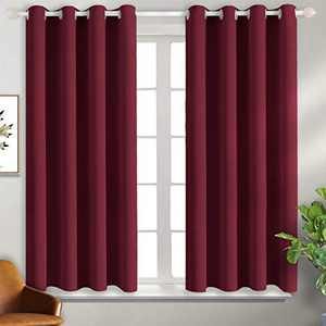 BGment Blackout Curtains for Bedroom - Grommet Thermal Insulated Room Darkening Curtains for Living Room, Set of 2 Panels (46 x 54 Inch, Burgundy Red)