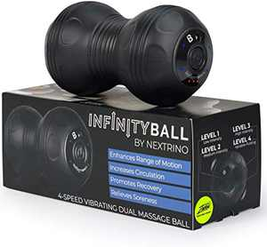 InfinityBall 4-Speed Vibrating Massage Ball - Lacrosse Balls Meet a Vibration Foam Roller! - High Intensity for Recovery, Mobility, Pliability Training & Deep Tissue Sports Therapy