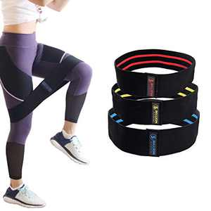 5BILLION Fabric Resistance Hip Exercise Bands - for Booty, Thigh & Glutes - Soft & Non-Slip Design Loop Set(Set of 3)