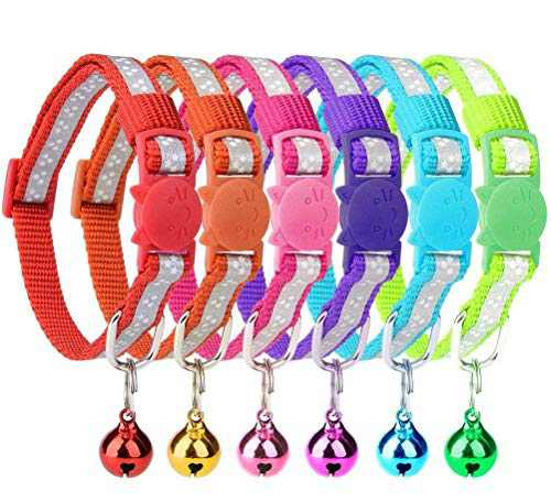 "6 Pcs Reflective Cat Collars with Bell 8""-10"" Breakaway Nylon Collars Set, Star Reflective Stripes"