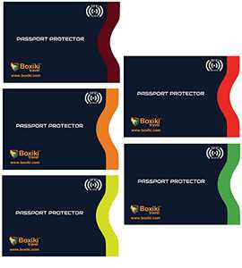 RFID Blocking Sleeves, Set with Color Coding | Identity Theft Prevention RFID Blocking Envelopes by Boxiki Travel (Set of 5 Passport Sleeves) (Navy Blue)
