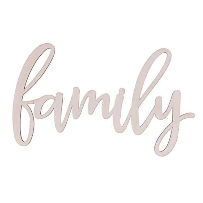 WINOMO Family Wood Plaque Sign Home Décor Wall Art Unfinished 30.5x18x0.4cm