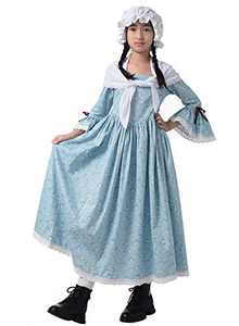 GRACEART Colonial Girls Dress Prairie Pioneer Costume 100% Cotton (Light Blue,Size-6)