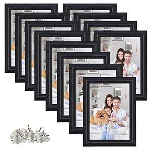 12 Pack 5x7 Picture Frame Set Hold 5 by 7 inch Black Photo Frames