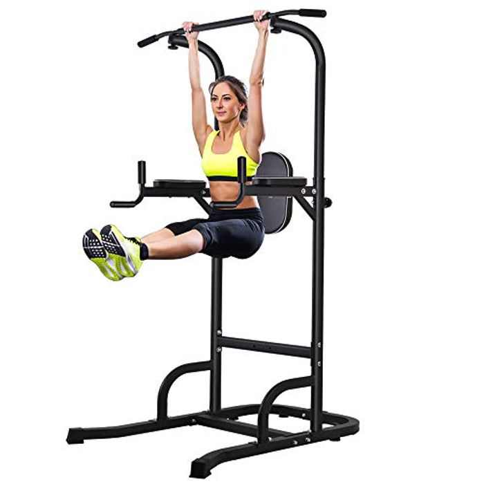 ONETWOFIT Power Tower Adjustable Height Pull Up & Dip Station Multi-Function Home Strength Training Fitness Workout Station