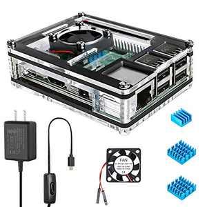 Miuzei Raspberry Pi 3 B+ Case with Fan Cooling, Pi 3B Case with 3 Pcs Heat-Sinks, 5V 2.5A Power Supply for Raspberry Pi 3 B+ (B Plus), 3B, 2B