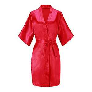EPLAZA Women Solid Color Satin Bridesmaids Wedding Kimono Robes Short Bridal Dressing Gown Sleepwear (Red, Tag SM)
