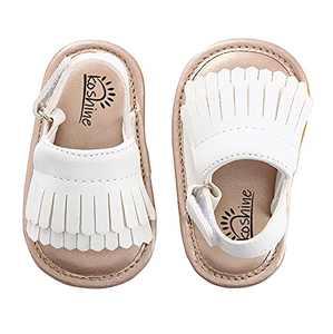 Baby Sandal Tassels Summer Toddler Slipper Shoes 0-18 Months (12-18 Months, White)