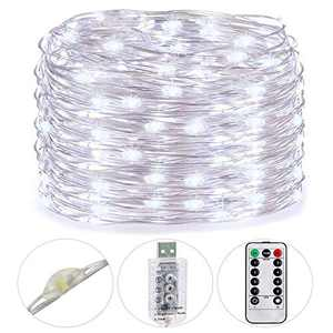 HSicily 49ft 150 LED Fairy Lights Plug in with Remote Control Timer, 8 Modes,USB String Light with Adapter,Cool White LED Twinkle Lights for Christmas Thanksgiving Bedroom Indoor Decoration