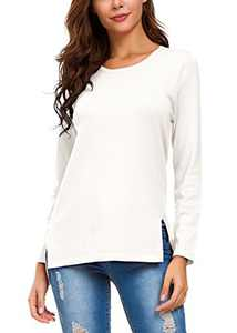 Urban CoCo Women's Solid Pullover Sweater Side Slit (S, White)