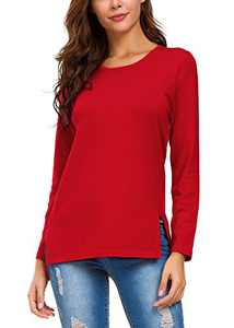 Urban CoCo Women's Solid Pullover Sweater Side Slit (S, Red)