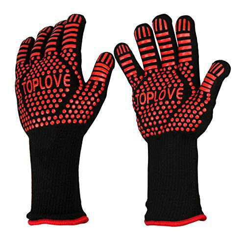 BBQ Grill Gloves [1472℉ NEWEST] EN407/EN420 CE Heat Resistant - Oven Silicone Glove Fireproof for Smoker Baking - High-temp Barbecue Grilling Potholders - Heat-insulated Cooking Mitt, X-Long