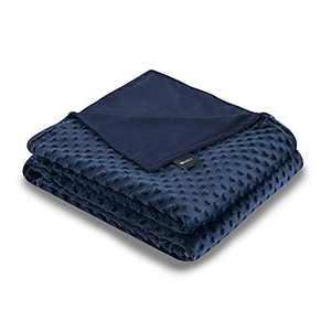 ZonLi 48''x72'' Navy/Navy Minky Dot Duvet Cover, Removable Duvet Cover for Weighted Blanket
