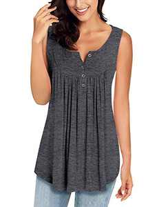 MIROL Womens Spring Sleeveless V Neck Solid Color Casual Swing Shirts Flowy Tank Tops Maternity Blouses with Buttons Gray