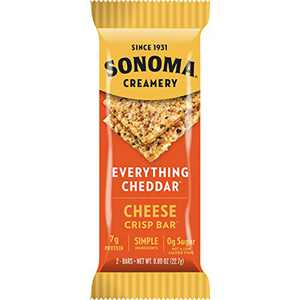 Sonoma Creamery Cheese Crisp Bars - High Protein, Gluten Free, Low Carb & Keto Friendly Snack - Everything Cheddar, Pack of 8