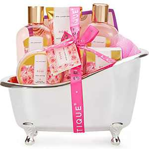 Spa Baskets for Women, Spa Luxetique Spa Gifts for Women, 8pcs Rose Bath Gift Set Includes Bath Bombs, Bath Salts, Bubble Bath, Best Gift Set for Women
