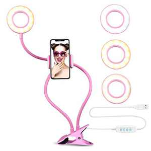 Selfie Ring Light with Cell Phone Holder Stand for Live Stream/Makeup, UBeesize LED Camera Beauty Light [3-Light Mode] [10-Level Brightness] with Flexible Long Arms, Compatible iPhone Android Phone