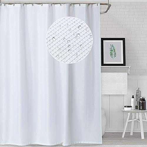 NANAN Fabric Shower Curtain with Waffle Weave and Metal Grommets for Bathroom Showers and Bathtubs, Hotel Quality - 72 x 72 inch, Pack of 2, White