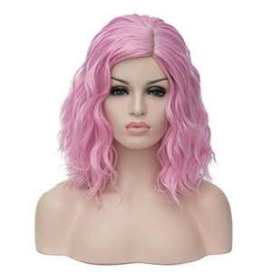 "BERON 14"" Women Girls Short Curly Bob Wavy Wig Heat Resistant Rose Net (Pink)"