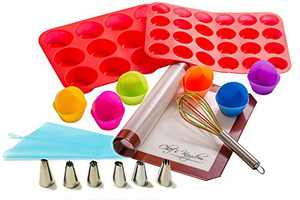 Riki's Kingdom Silicone Cupcake/Muffin Bakeware Set, 23-Piece, Mat/12-Cup Pan/24-Cup Pan/12 Single Cups/Whisk, Decorating Supplies Kit with 6 Icing Tips, Pastry Bag/Non-Toxic/Dishwasher/Oven Safe