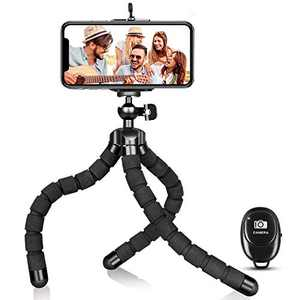 Phone Tripod, Portable Flexible Tripod Adjustable Cell Phone Tripod with Wireless Remote Mini Tripod Stand for iPhone 12 11 Pro XS MAX XR,Android Phone Samsung GoPro