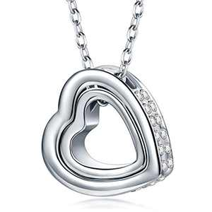 QIANSE Mother's Day Necklaces Gifts for Her My Destiny White Gold and Rose Gold Plated 2 Hearts Pendent Crystals Necklace Christmas Birthday Gifts