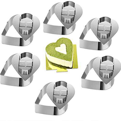 "ONEDONE Cake Rings Heart Shape 3.15"" Ring Molds for Cooking Baking Mini Baking Ring Molds for Cooking Stainless Steel Pastry Rings Cake Mousse Mold with Pusher Set of 6"