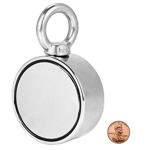 """Double Sided Round Neodymium Magnet Fishing with Eyebolt, Vertical Tension 800LBS, 2.95"""" Diameter (75MM)"""