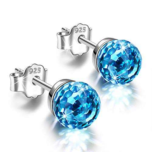 NINASUN Blue Crystal Stud Earrings for Women Sterling Silver Studs Earring for Girls Hypoallergenic Senstive Ears Birthday Gifts for Her Mom Wife Girls Mother Christmas Gift Valentines Mothers Day