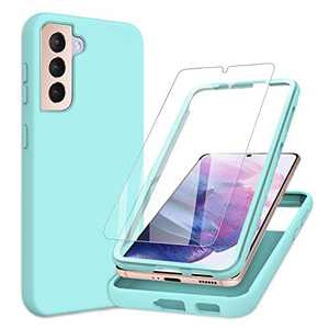 PULEN for Samsung Galaxy S21 Plus Case with Screen Protector [1 Pack],Rugged PC Front Cover + Soft Liquid Silicone Non-Slip Back Cover Shockproof Full-Body Protective Case (Green)