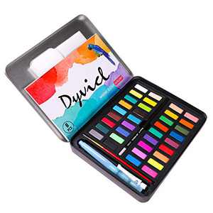 Dyvicl Watercolor Paint Set - 36 Vivid Colors (in Pocket Tin Box) with Watercolor Paper, Refillable Brush, Drawing Pencil, Paint Brush, Watercolor Kit for Adults Students Kids Beginners Artists