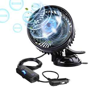 Car Fans, Tvirdeally 12V Fans Car Cooling Fan with Adjustable 360°Rotating Car Air Fan Cooler with Cigarette lighter with Upgrade Sucker & Negative Ions -2020 Newest