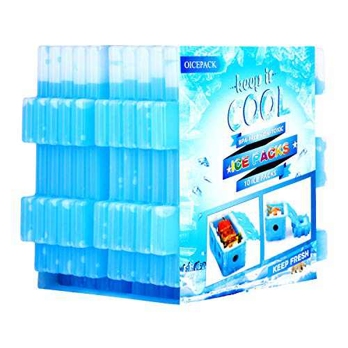 OICEPACK Ice Pack for Lunch Box - Reusable Freezer Ice Packs for Coolers - Slim Long - Lasting Cool Pack for Lunch Bags and Cooler Bags - Set of 10 - Blue
