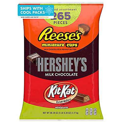 REESE'S, HERSHEY'S and KIT KAT Assorted Milk Chocolate Miniatures Candy, Bulk, 80.39 oz Bulk Variety Bag (265 Pieces)