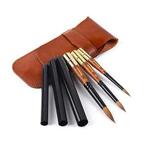 Kolinsky Sable Watercolor Brushes, Fuumuui Artist Travel Watercolor Paint Brushes with Pocket Size Leather Pouch Perfect for Watercolor Gouache Acrylic Ink Painting