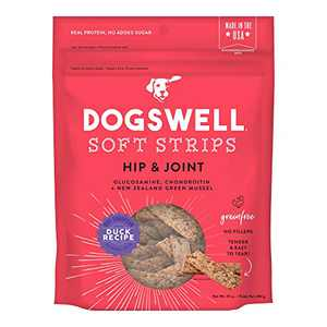 DOGSWELL Hip & Joint Dog Treats 100% Meaty, Grain Free, Glucosamine Chondroitin & Omega 3, Duck Soft Strips 10 oz