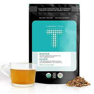 Turmeric Teas WINTER - Warming Organic Turmeric Ginger Tea. Loose Leaf Tea, 50-70 Servings of Anti-inflammatory, Immunity Boosting, Healing Tea - Herbal, Whole30 Approved, Non-GMO, Sugar Free (3.5oz)