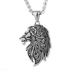 QIANJI Antique Celtic Lion Head Pendant Necklace Stainless Steel Jewelry Bag Package