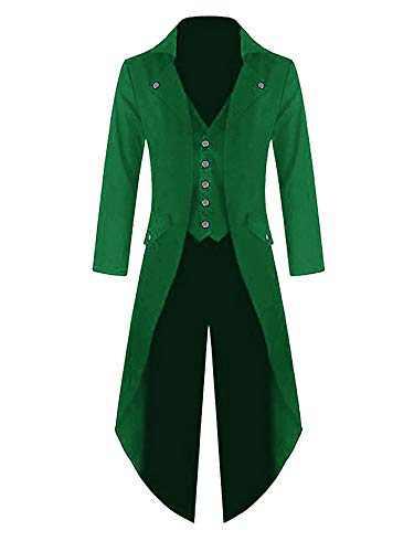 Makkrom Mens Steampunk Gothic Jacket Victorian Tailcoat Vintage Halloween Costume Tuxedo Coat Uniform Green